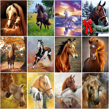 DIY 5D Diamond Painting Horse Full Round Diamond Embroidery Animal Mosaic Picture Cross Stitch Rhinestone Handmade Home Decor 3d diy diamond painting horse picture mosaic 5d cross stitch full square diamond embroidery kits animal painting home decor