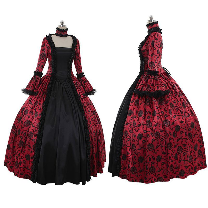 Womens Victorian Gothic Rococo Dress Floral Print Ruffles Lace Cosplay Costume Plus Size S-5XL