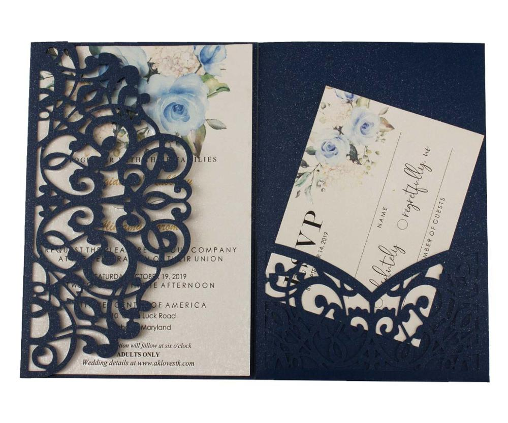free shipping 1X hollow Laser Cut Tri fold Tiffany dark blue Gray Silver pocket  Wedding Invitation Card Invite RSVP custom|Cards & Invitations| - AliExpress
