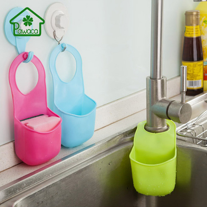 Pawaca Kitchen Button Sink Storage Shelf Rack PVC Eco-friendly Soap Sponge Storage Drain Basket Kitchen Sink Accessories Basket
