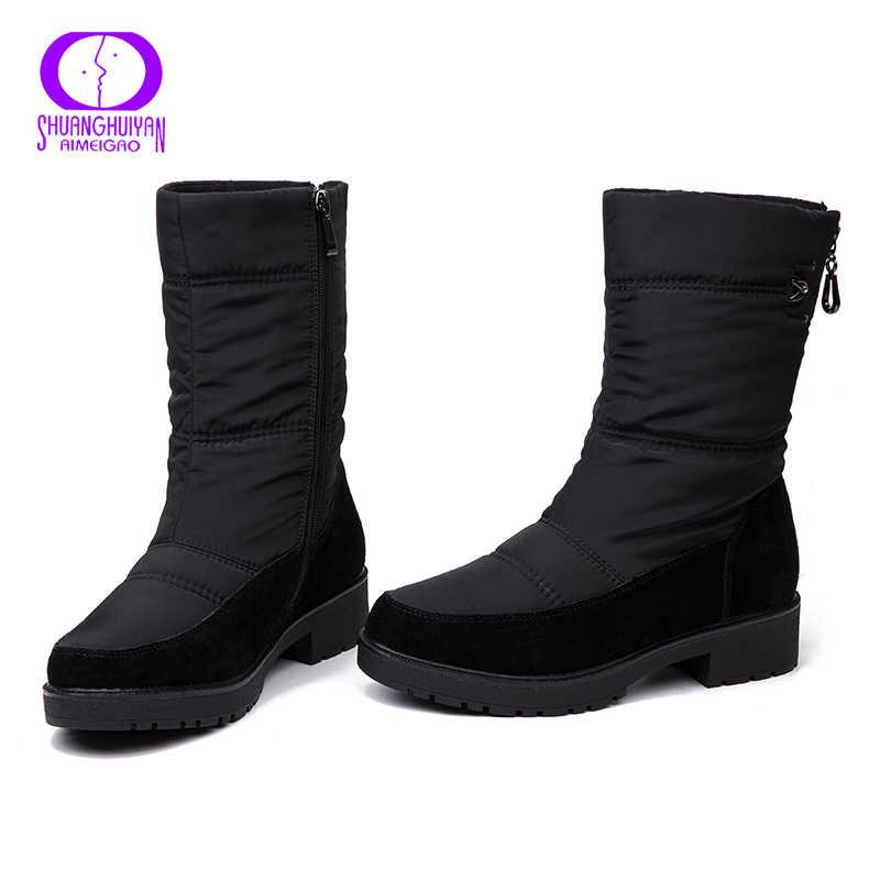 AIMEIGAO 2018 yeni kar botları kadın kış kürk sıcak botlar su geçirmez kalın alt daireler rahat topuklu ayakkabılar