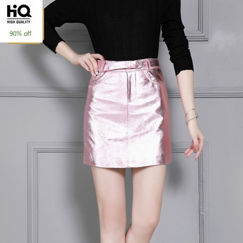 2020 Autumn Women Genuine Leather Office Lady Sexy Mini Skirts Fashion A-Line High Waist Party Leather Short Skirts Work Clothes