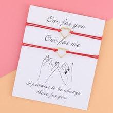 2Pcs/Set Adjustable Gold Heart Rope Bracelet Simple Gold Heart Couple Bracelet Women Men Red String for His&Her BFF Gift