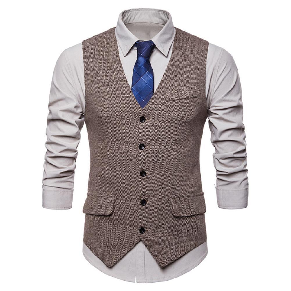Herringbone Design Men Vests Single-breasted Sleeveless Vest Men Slims Sleeveless Waistcoat Men Slim Formal Vest chaleco hombre