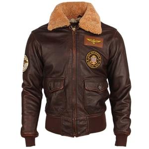 Image 3 - Chaqueta de cuero para hombre, 100% gruesa, piel de becerro, acolchada, con cuello de piel Natural, chaqueta de cuero desgastado Vintage, abrigo cálido para invierno, M253