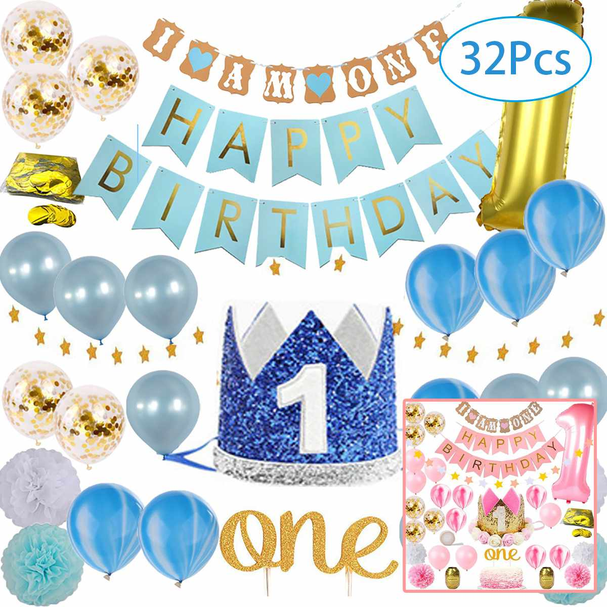 Baby Girl Boy 1st Birthday Party Supplies Party Balloon Decoration Pink Kids Baby Shower Decoration Tableware Kids Supplies Set Party Diy Decorations Aliexpress