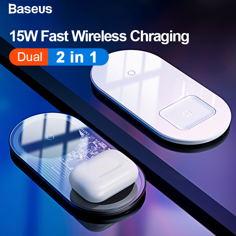 Baseus Qi Wireless Charger For Airpods IPhone 11 Pro Max Xs X Dual 15W Fast Wireless Charging Pad For Samsung Induction Charger
