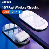 Cargador inalámbrico Baseus Qi para Airpods iPhone 11 Pro Max Xs X Dual 15W cargador inalámbrico rápido para Samsung cargador de inducción