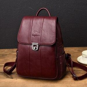 Image 2 - 2019 femmes sac à dos femme haute qualité en cuir sac décole pour les adolescentes voyage sac à dos sacs à dos dames sacs à bandoulière