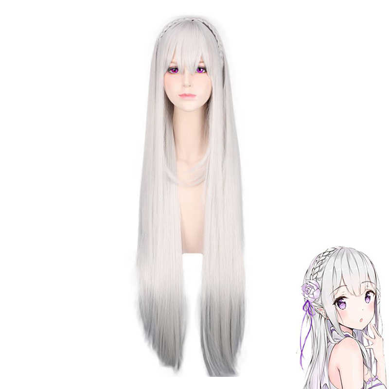 Wig Cap Re:Zero Starting Life in Another World Emilia Anime Cosplay Wig Natural Long Straight White Wig Heat Resistant Synthetic Wigs for Women