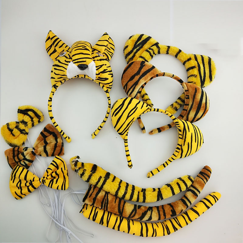Children Adult  Kids Tiger Headband Bow Tie Tail  Animal Costume Cosplay Performance Birthday Party Props Halloween Gift