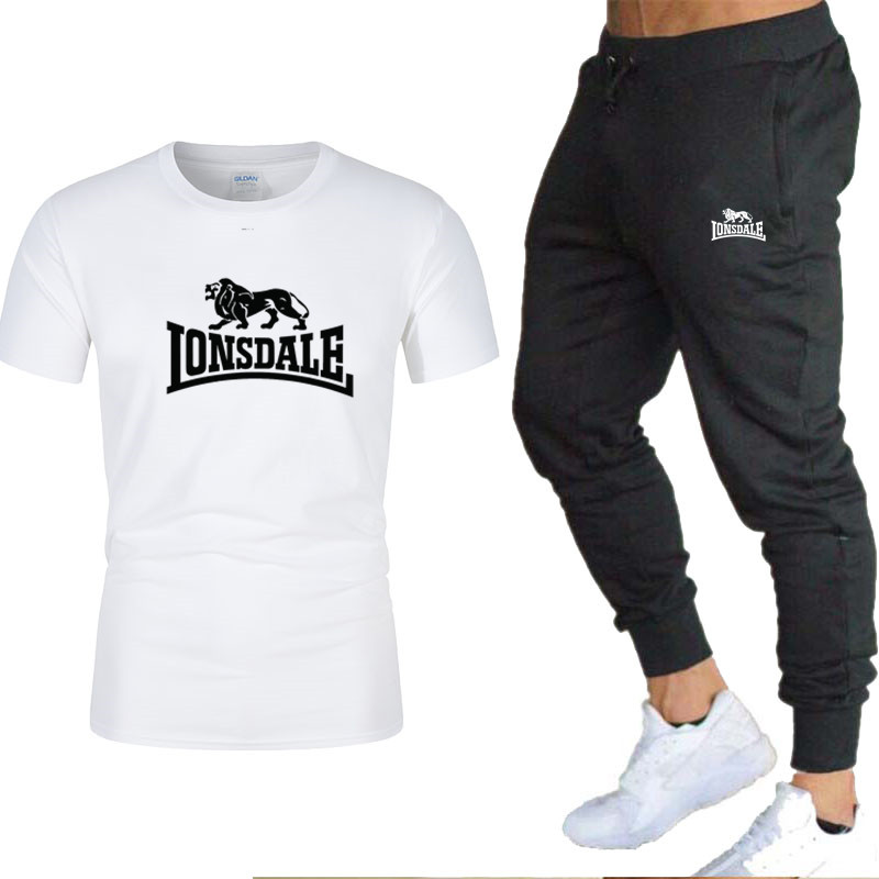 2020 Men's Sets T Shirts+pants Two Pieces Sets Casual Tracksuit Men/Women New Fashion Printing Suits Sportwear Gyms Trousers