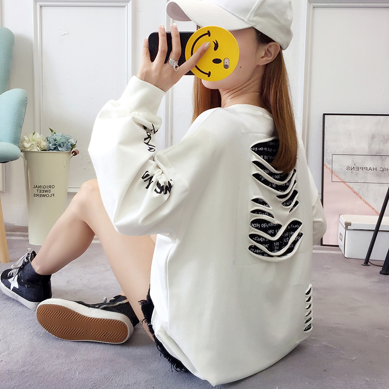 2019 autumn new Korean version of the XL T-shirt women's thin section long-sleeved loose hole wild T-shirt shirt women 57