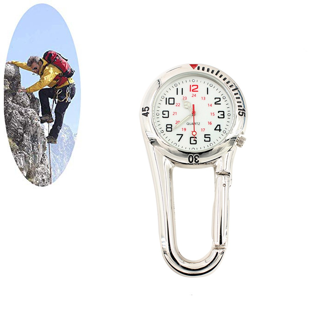 Multifunctional Beautiful Black/Silver Clip On Carabiner Luminous Face Watch For Mountaineering Climbing Watch Belt Loop Hook