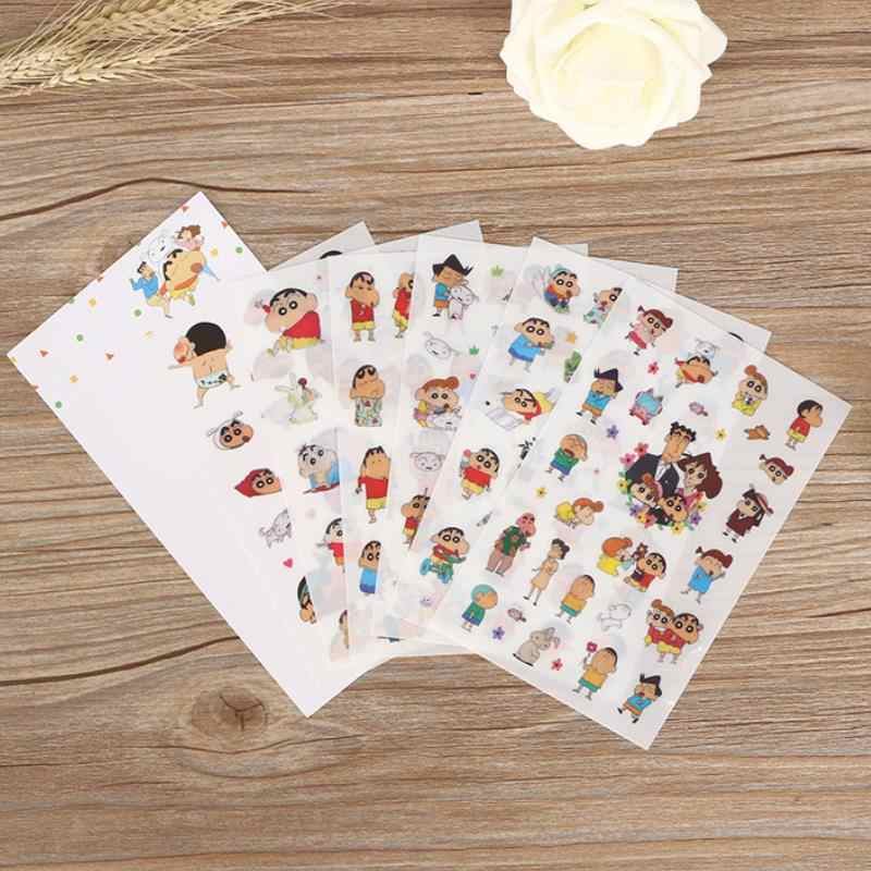 6 Sheets/Bag New Anime Sticker Pack Children Toys Cartoon Crayon Shin-Chan DIY Book Diary Scrapbook Funny Stickers Kids Gifts
