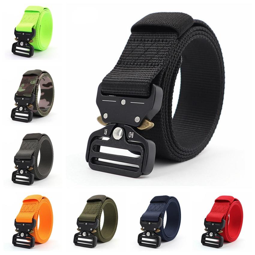 Men Belts For Army Military Tactical Nylon Belt Quick Release Buckle Metal Adjustable Man Belt Outdoor Waist 48 Inch 3.8cm Wide