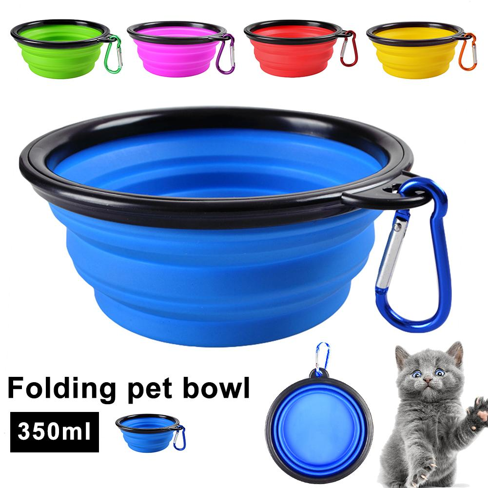 2 in 1 Portable Travel Collapsible font b Pet b font Dog Bowl Water Food Feeding