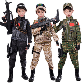 High Quality Army Camouflage Tactical Scouting Costome for Kid Boy Girl Jungle Printing Combat Sets 95-165cm