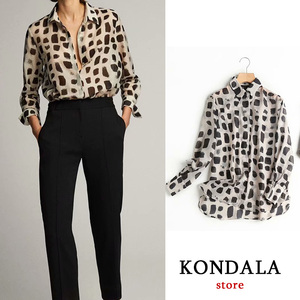 Cow Print Camisas Mujer Office Lady Loose Shirt Women Sexy Women Tops Long Sleeve Simple Camisas Mujer 2020 ZA Casual Shirt