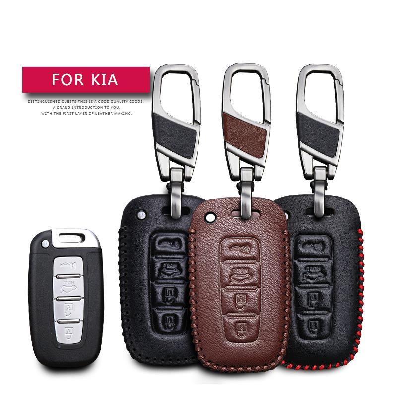 Leather Car Key Case Cover For Kia Borrego Forte Optima Rio Sorento Soul Sportage K5 Protection Key Shell Skin Bag Only Case