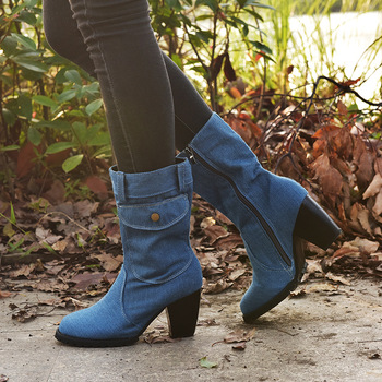 Unique 2020 Women Autumn Winter Boots Denim Design Shoes for Girls Mid-Calf Pocket High Heel Boots Winter Shoes Women girls boots new kids winter shoes uovo brand flat heel leather mid calf national style eu26 39 chaussures fille enfants bottes