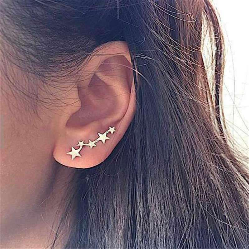 New Fashion Sliver Gold Color Boho Star Leaf Shape Crystal Earrings Brincos Clip On Earrings Ear Cuff For Women Party Jewlery