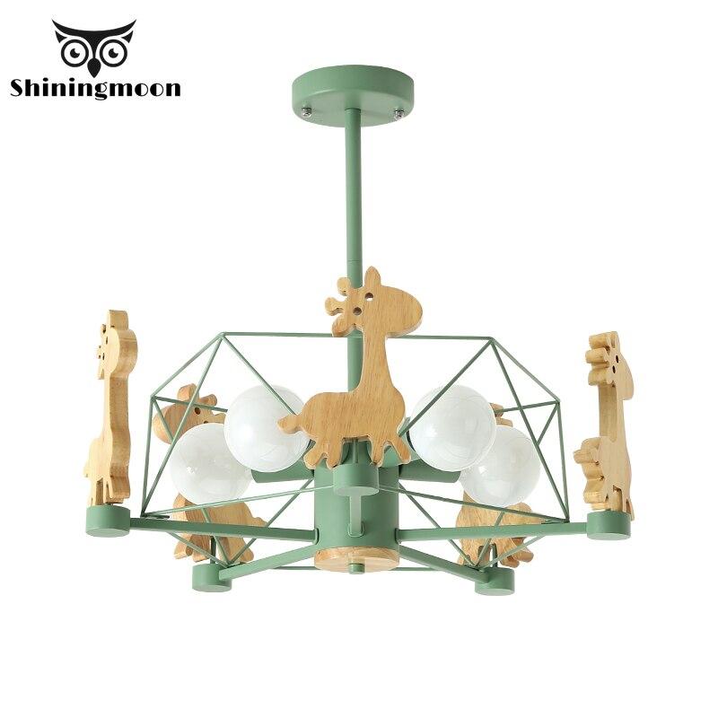 Nordic Animal Deer Chandelier Lighting Modern Led Chandeliers Wooden Iron Living Room Hanging Lamp Home Decor Lighting Fixtures
