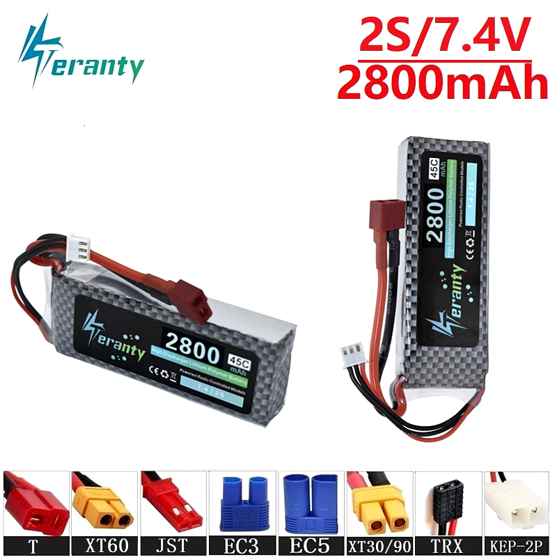Teranty Power 7.4v <font><b>2800maH</b></font> 45C <font><b>Lipo</b></font> Batterry For RC Drone Boat Quodcopter Spare Parts <font><b>2s</b></font> 2200mah 7.4v Rechargeable battery 2PCS image