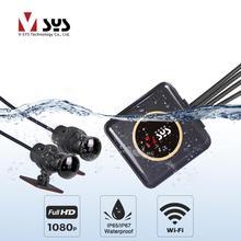 SYS VSYS מלא גוף עמיד למים אופנוע מצלמה מקליט P6FL WiFi הכפול 1080P מלא HD אופנוע DVR מצלמת דאש שחור GPS תיבה