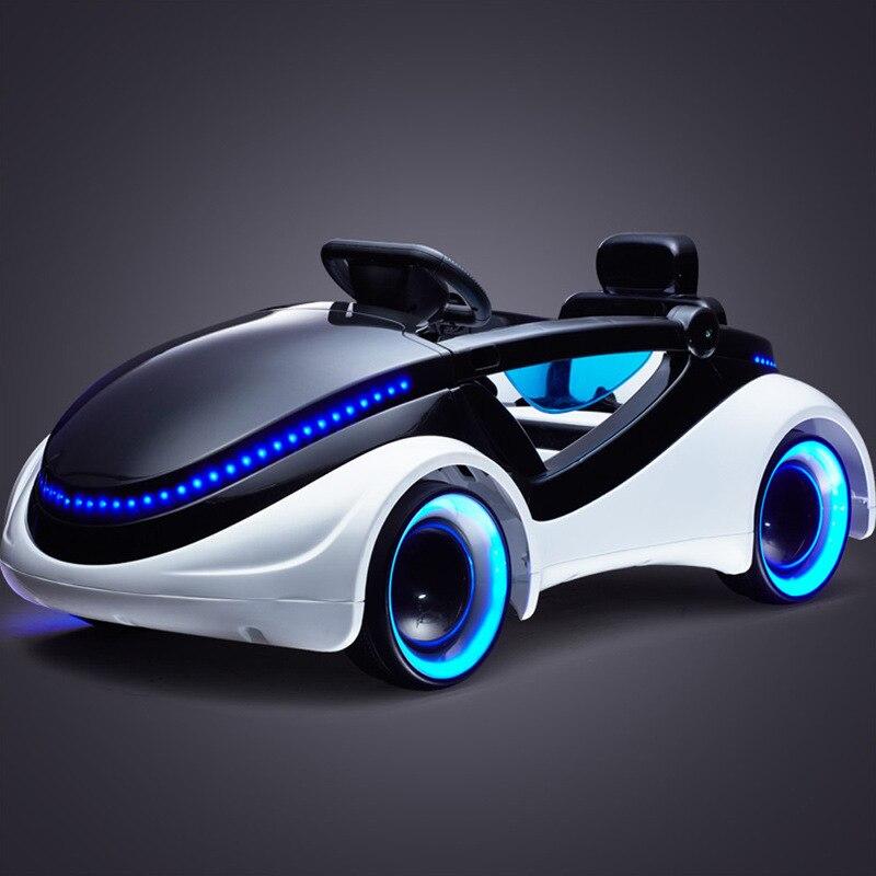 Coche eléctrico de ciencia ficción para niños, cinturón de cuatro ruedas, control remoto, bebé, puede sentarse, coche de juguete, coche eléctrico para bebé