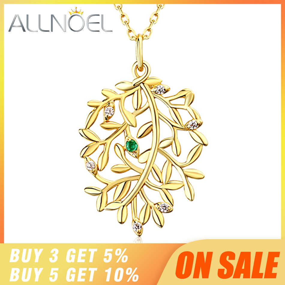 ALLNOEL Luxury Natural Emerald Pendant Real 925 Sterling Silver Leaf Necklaces For Women Link Chain Jewelry Engagement Gift New