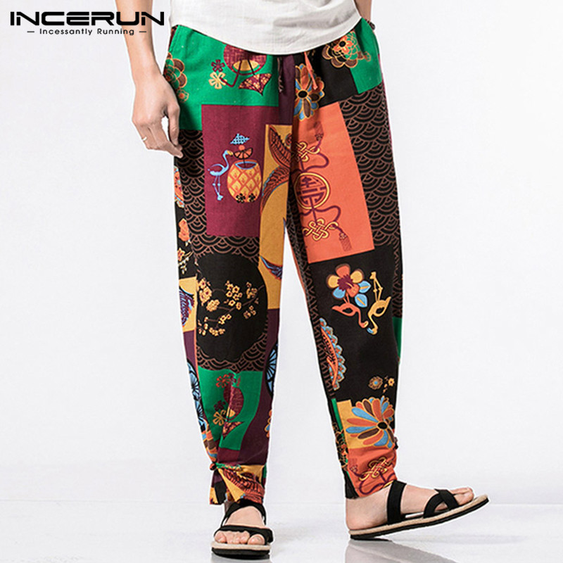 INCERUN Vintage Men Harem Pants Ethnic Style Printed Streetwear Casual Joggers Loose Cotton Pantalon Elastic Waist Trousers Men