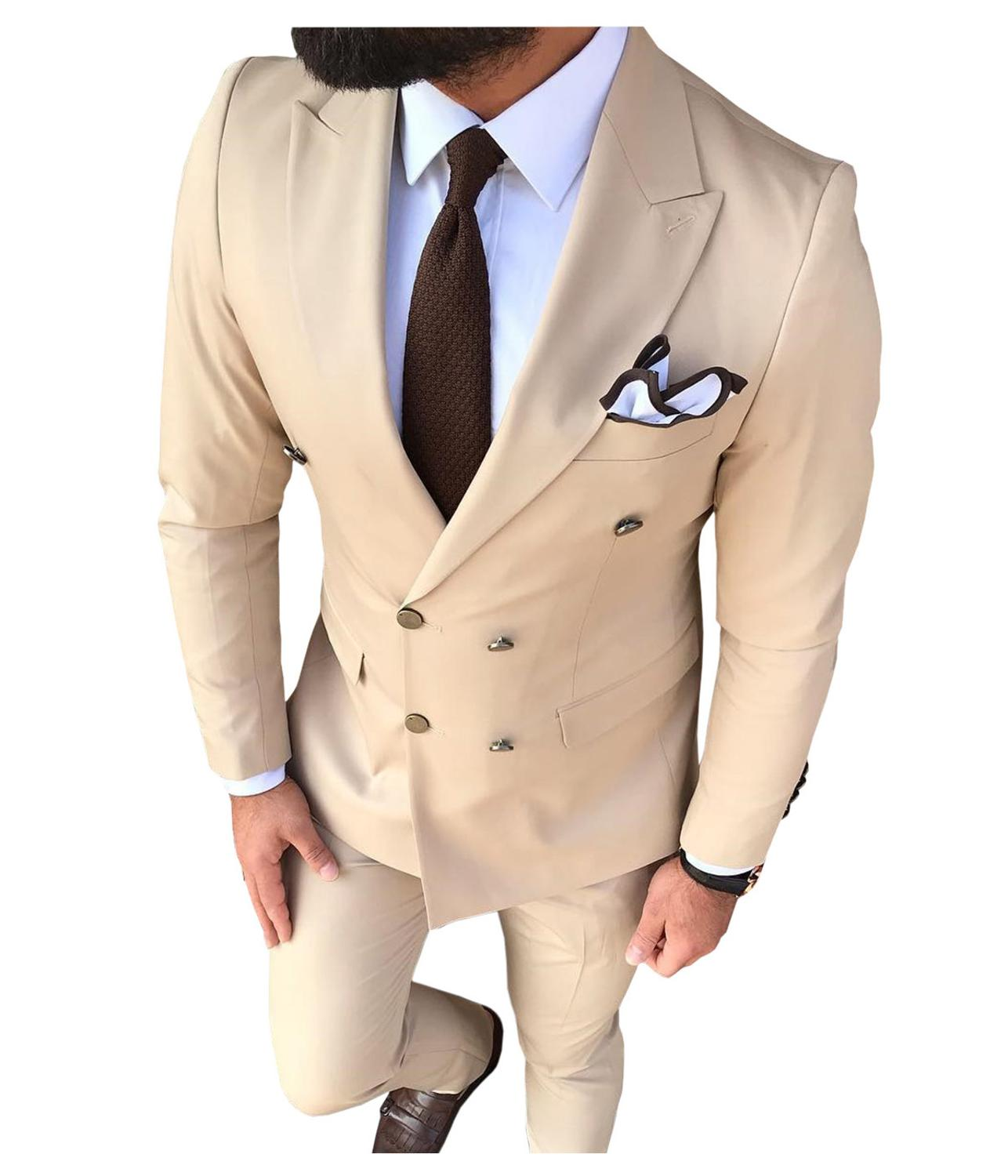 Solovedress Mens Wedding Suit Peak Lapel Double Breasted Slim Fit New Fashion Prom Wear Party Skinny Cheap Costume 3 Piece M2