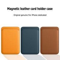 MAGSAFE-funda trasera de cuero para iPhone, carcasa magnética de lujo Original para iPhone 12 Pro Max adsorción para iPhone 12 mini tarjetero