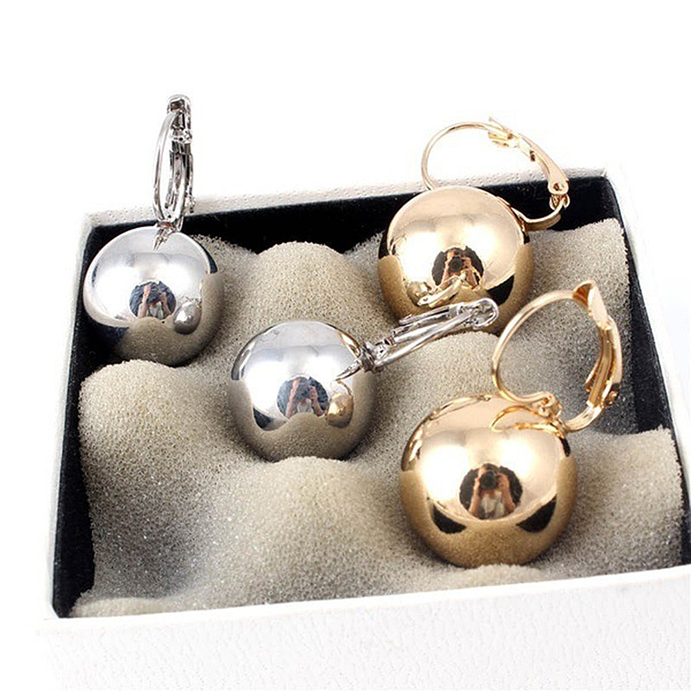 1 Pair Gold Silver Plated Earrings Fashion Jewelry Big Round Ball Pendant Statement Earrings for Women Gifts Wedding Accessory