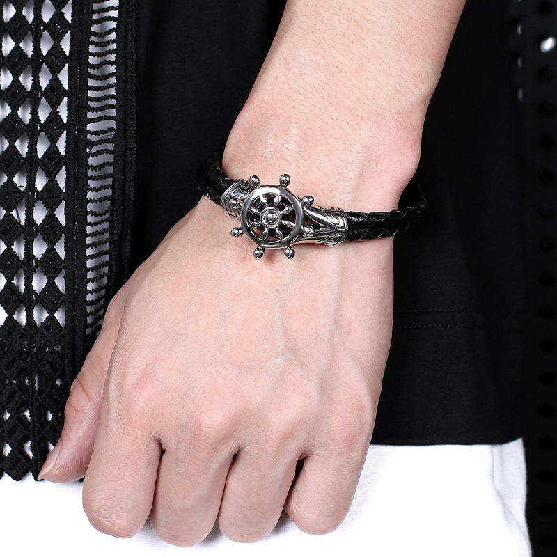 Fashion Bangle Men Jewelry Black Double Layer Leather Stainless Steel Punk Anchor Rudder Charm Simple Bracelet PS1040
