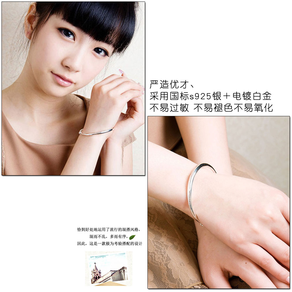 Fashion solid genuine 925 sterling silver lady's bracelet & bangle. Simple round line telescopic bracelet women jewelry