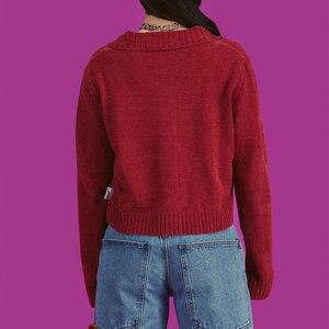 Image 3 - Harajuku/Винтажный вязаный кардиган для девочек, свитер 2019, осенний свитер с отложным воротником, Повседневная Свободная мягкая уютная одежда для женщин