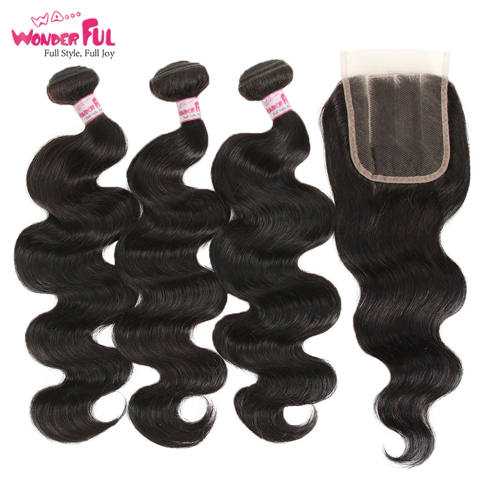 Remy Peruvian Hair Bundles With Closure Body Wave Bundles With Closure Human Hair Bundles With Closure 8- 28 Inch 4/5 Pcs