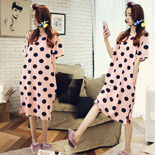 New Summer Short-sleeved Nightdress Home Wear with Polka Dots and Loose Ladies Nightdress Sexy Nightwear Sleepwear Sleep Tops