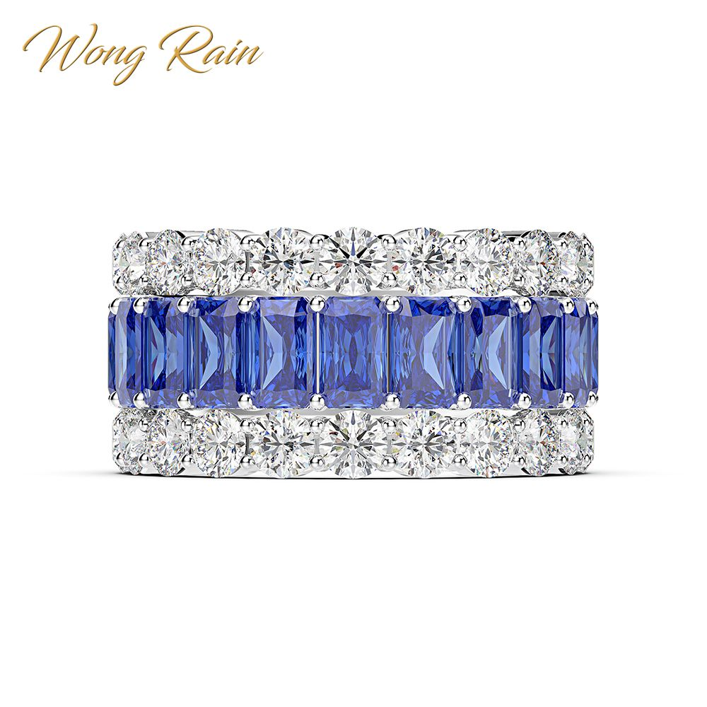 Wong Rain Luxury 100% 925 Sterling Silver Created Moissanite Sapphire Gemstone Wedding Engagement Ring Fine Jewelry Wholesale
