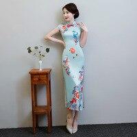 Print Flower Elegant Chinese Lady Qipao Cheongsam Summer Vintage Slim Evening Dress Plus Size 6XL Vestidos