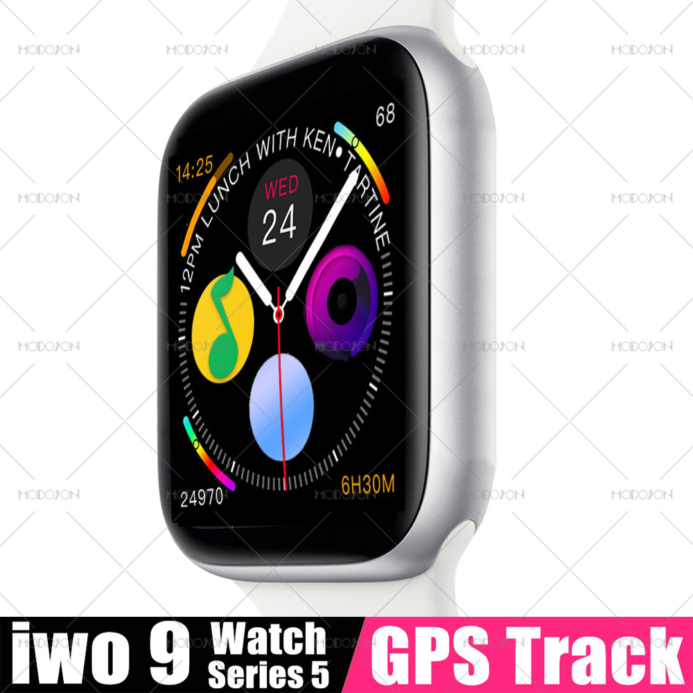 Modoson relógio inteligente iwo 9 série 5 gps faixa de freqüência cardíaca relógio de fitness rastreador smartwatch pk 11 12 14 15 para apple iphone android