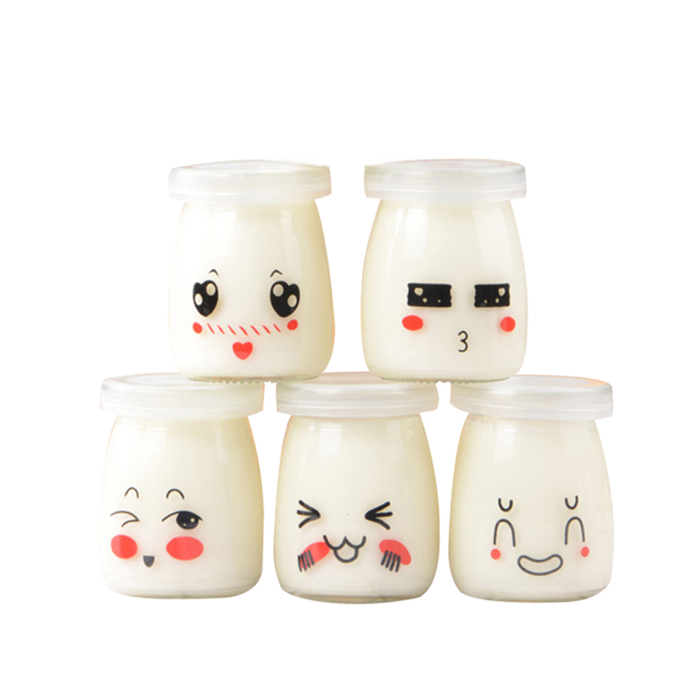 10PCS Cute Face 100ml Pudding Cups Heat-resistant Glass Jelly Bottles Yogurt Jar Containers Dessert Jar Jelly Bottles