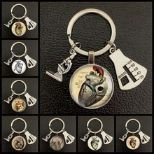 Креативный новый анатомический брелок для ключей в форме сердца, стеклянный металлический брелок для ключей, кольцо для ключей с изображен...