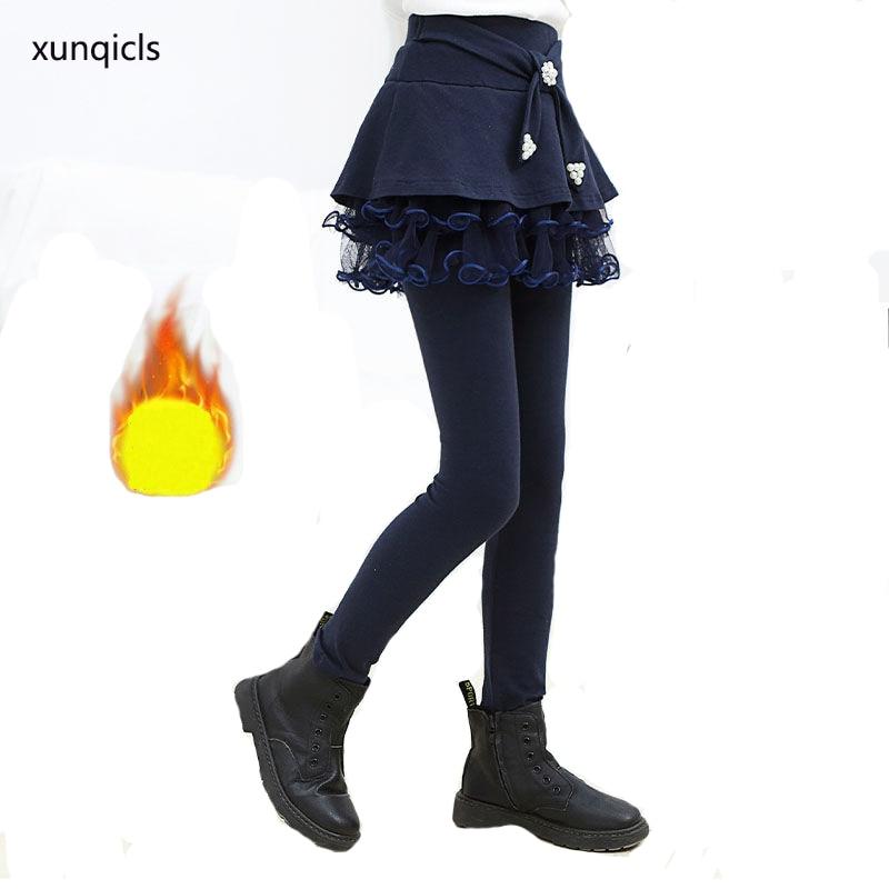 Outono Inverno Meninas Calças Legging Crianças Quente saia Calças Crianças Velo Calças Compridas Roupas adolescentes Menina Outwear