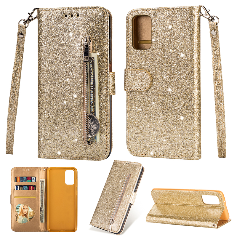 Bling Glitter Flip Leather Case For Samsung Galaxy S20 S20 Plus Zipper Wallet Case For Samsung S20 Ultra Case With Strap