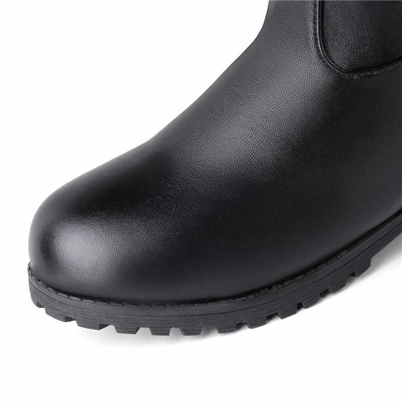 MoonMeek 2020 kış kar botları kadın yuvarlak ayak zip orta buzağı çizmeler zip düşük topuklu bayanlar balo çizmeler artı boyutu 34-48