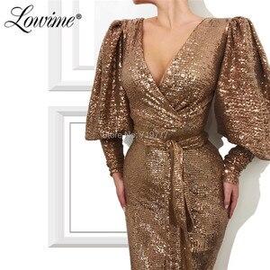 Image 2 - Robe Soiree Dubai Prom Dresses Vrouw Party Night 2020 V hals Pailletten Mermaid Avondjurk Formele Lange Mouwen Arabisch Gown custom