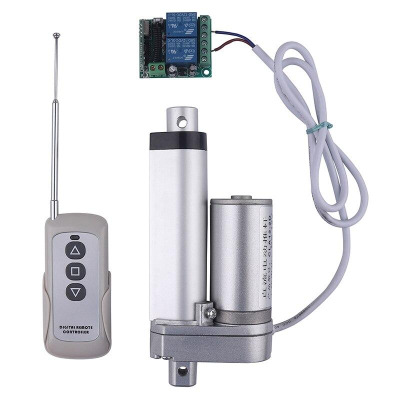RF controle remoto Elétrico atuador Linear 12V linear do curso do motor da engrenagem do metal pode parar a qualquer momento 50mm 100mm 150 milímetros 200 milímetros 250